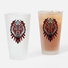 Wolf Tattoo Style Haida Art Drinking Glass