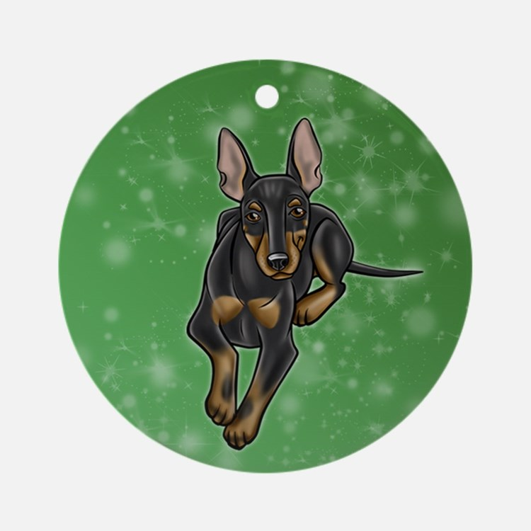 Cute Manchester terrier Round Ornament