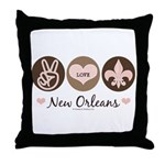 Peace Love New Orleans Throw Pillow