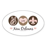 Peace Love New Orleans Oval Sticker