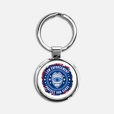 Law Enforcement Seal of Safety Round Keychain