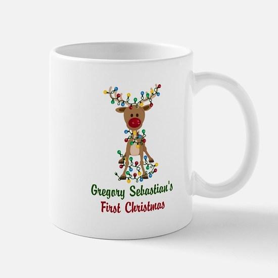 Adorable Reindeer CUSTOM Babys First Christmas Mug