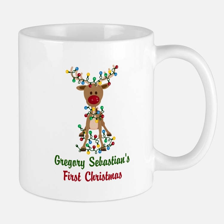 Adorable Reindeer CUSTOM Babys First Christmas Mug