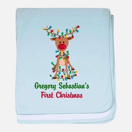Adorable Reindeer CUSTOM Babys First Christmas bab