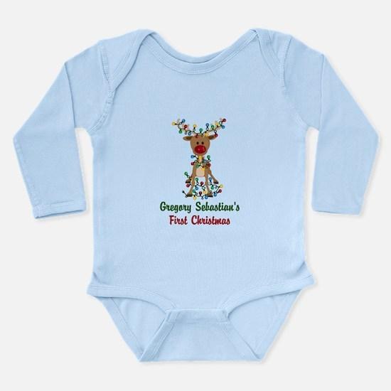 Adorable Reindeer CUSTOM Babys First Christmas Bod