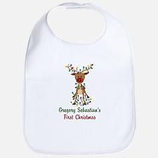 Adorable Reindeer CUSTOM Babys First Christmas Bib