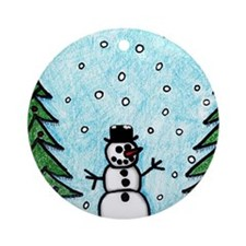 Snowman Greetings Round Ornament