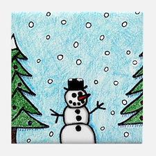 Snowman Greetings Tile Coaster