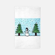 Snowman Greetings Area Rug
