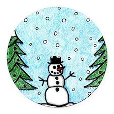 Snowman Greetings Round Car Magnet