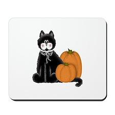Black Cat and Pumpkins Mousepad