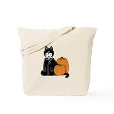 Black Cat and Pumpkins Tote Bag