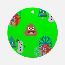 christmas poop emoji Round Ornament