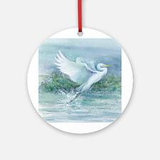Flighted Egret Round Ornament