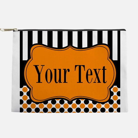 Personalizable Orange and Black Makeup Bag