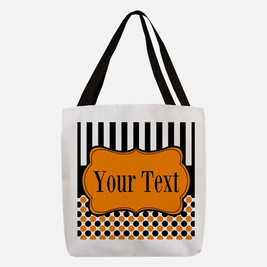 Personalizable Orange and Black Polyester Tote Bag