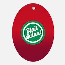 Festive Hail Satan Oval Ornament