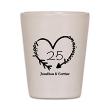 Custom Anniversary Doodle Heart Shot Glass