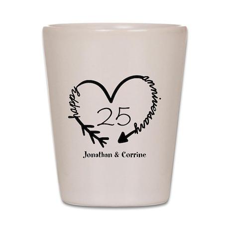 custom anniversary doodle heart shot glass