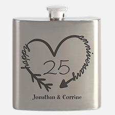 Custom Anniversary Doodle Heart Flask