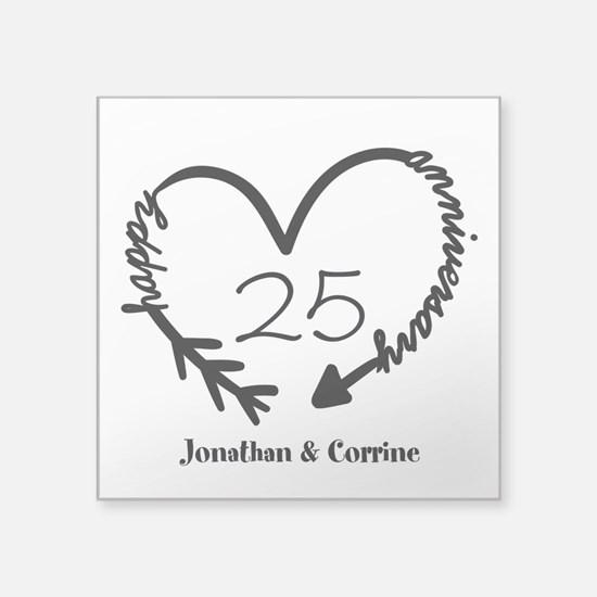 "Custom Anniversary Doodle H Square Sticker 3"" x 3"""