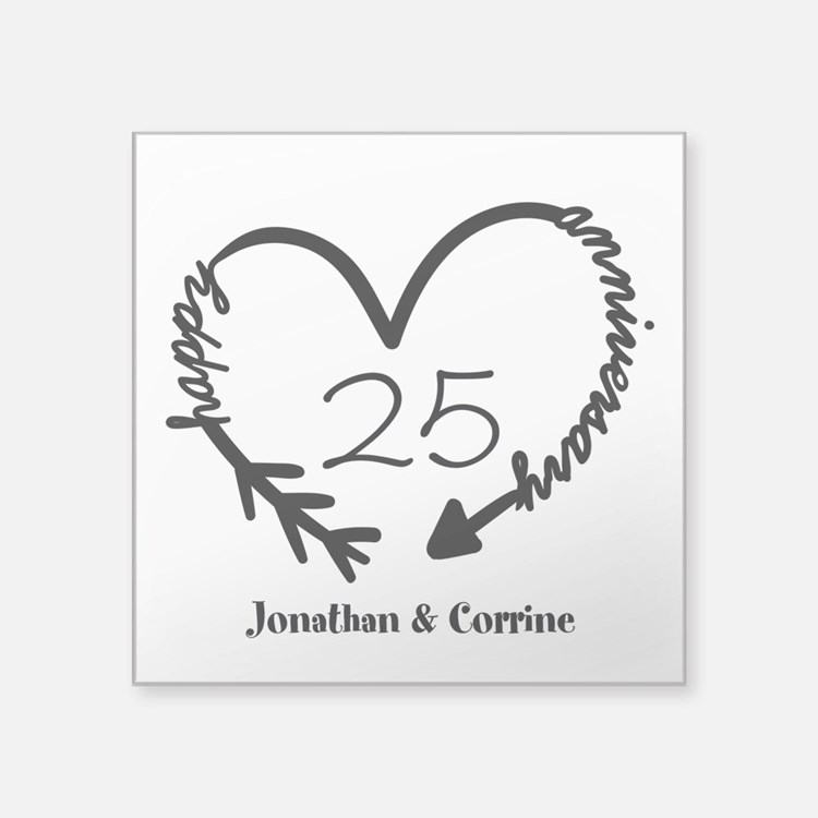 "Custom Anniversary Doodle H Square Sticker 3"" x 3"""