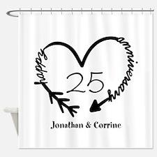 Custom Anniversary Doodle Heart Shower Curtain