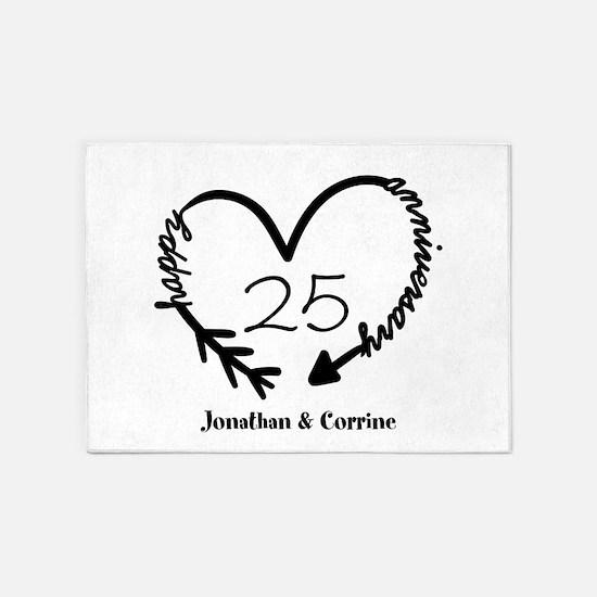 Custom Anniversary Doodle Heart 5'x7'Area Rug