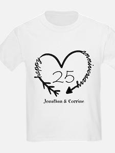Custom Anniversary Doodle Heart T-Shirt