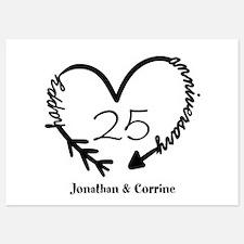 Custom Anniversary Doodle Heart 5x7 Flat Cards