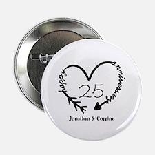 "Custom Anniversary Doodle Heart 2.25"" Button"