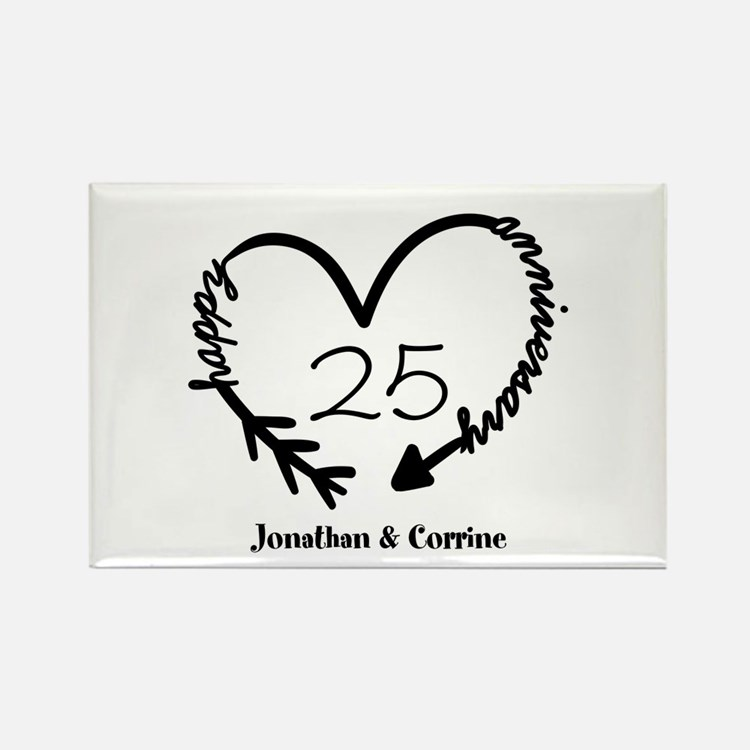 Custom Anniversary Doodle Heart Rectangle Magnet