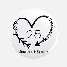 Custom Anniversary Doodle Heart Button