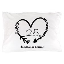 Custom Anniversary Doodle Heart Pillow Case