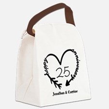 Custom Anniversary Doodle Heart Canvas Lunch Bag