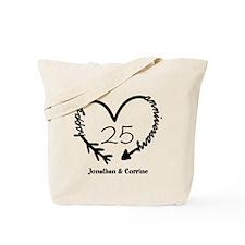 Custom Anniversary Doodle Heart Tote Bag