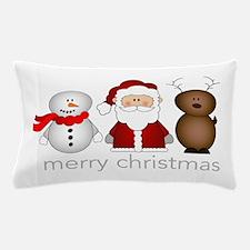 Santa, Reindeer And Snowman Pillow Case