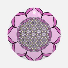 Lotus Pink3 Round Ornament