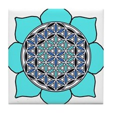 Lotus Blue2 Tile Coaster