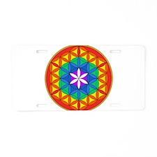Flower of Life Chakra5 Aluminum License Plate