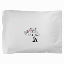red bird in tree with cat Pillow Sham