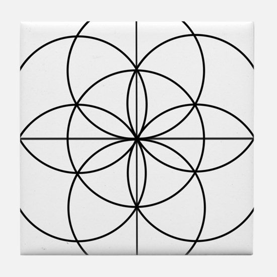 Seed of Life 2 Lines Tile Coaster