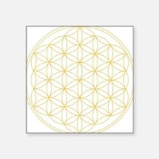 "Flower of Life Gold Line Square Sticker 3"" x 3"""