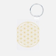 Flower of Life Gold Line Keychains