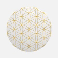 Flower of Life Gold Line Round Ornament