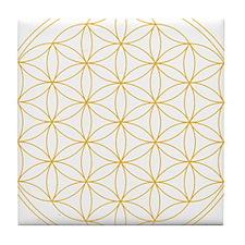 Flower of Life Gold Line Tile Coaster