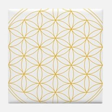 Flower of Life Gold Line Tile Coaster