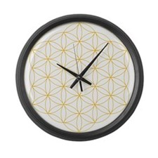 Flower of Life Gold Line Large Wall Clock