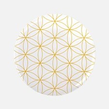 Flower of Life Gold Line Button