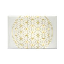 Flower of Life Gold Line Rectangle Magnet (10 pack